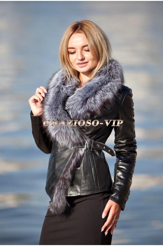 Кожаная куртка с отделкой из меха чернобурки