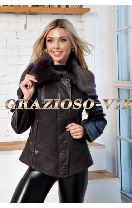 Акция! Демисезонная комбинированая кожаная куртка