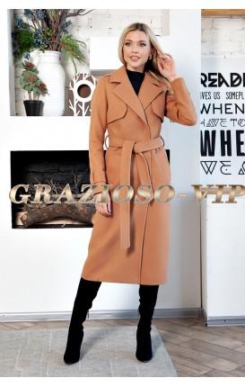 Весеннее классическое пальто цвета КЭМЕЛ