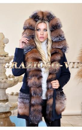 Зимняя модная парка с мехом чернобурки