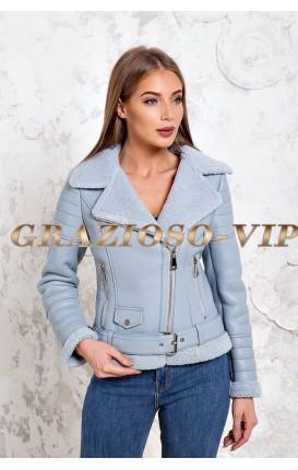 Голубая куртка авиатор женская