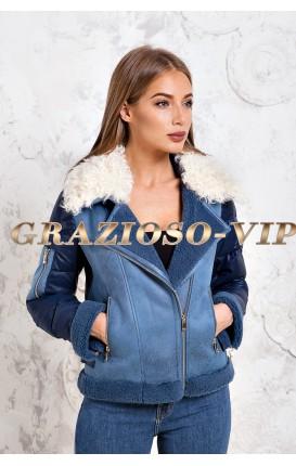 Синяя куртка - пуховик с отделкой из шерсти