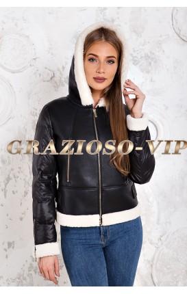 Модная комбинированная куртка - пуховик с отделкой из шерсти