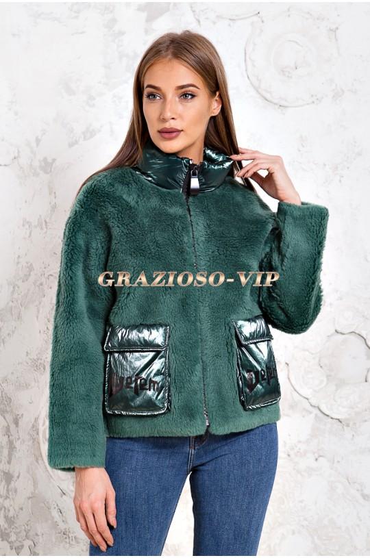 Изумрудная куртка из шерсти Тедди