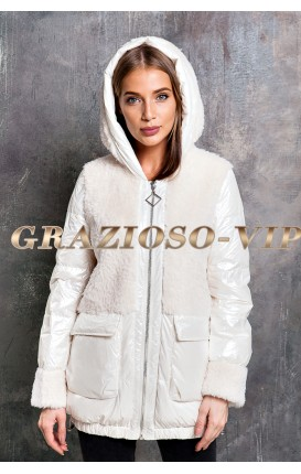Модная комбинированная куртка с отделкой из шерсти