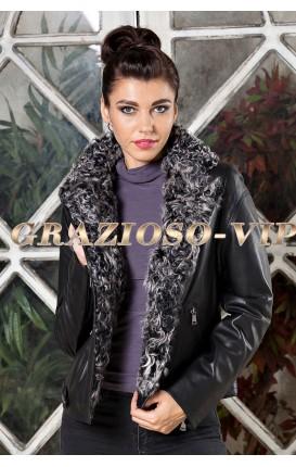 Кожаная куртка с отделкой из меха козы