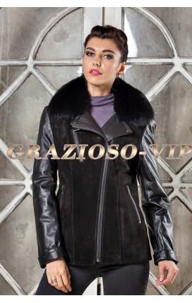 Комбинированная куртка с мехом песца на воротнике