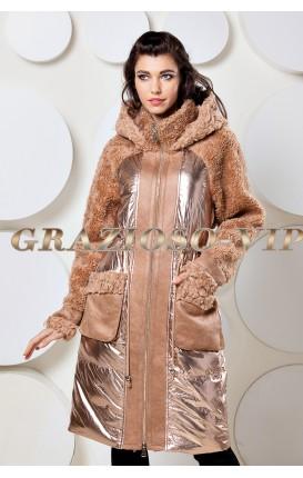 Модная куртка с капюшоном с отделкой из шерсти