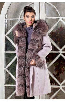 Модная парка- пальто из кашемира и шерсти с отделкой из меха чернобурки