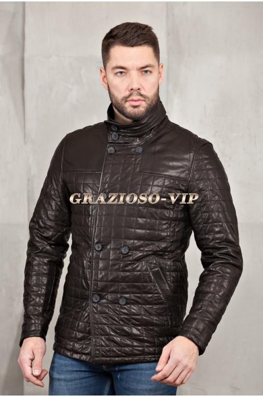 Кожаная стеганая куртка