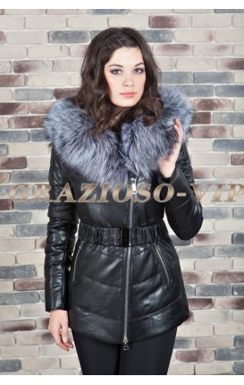 Куртка с отделкой из меха чернобурки