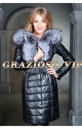 Кожаное зимнее пальто с мехом чернобурки
