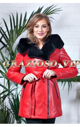 Красная кожаная куртка с отделкой из меха кролика РЕКС