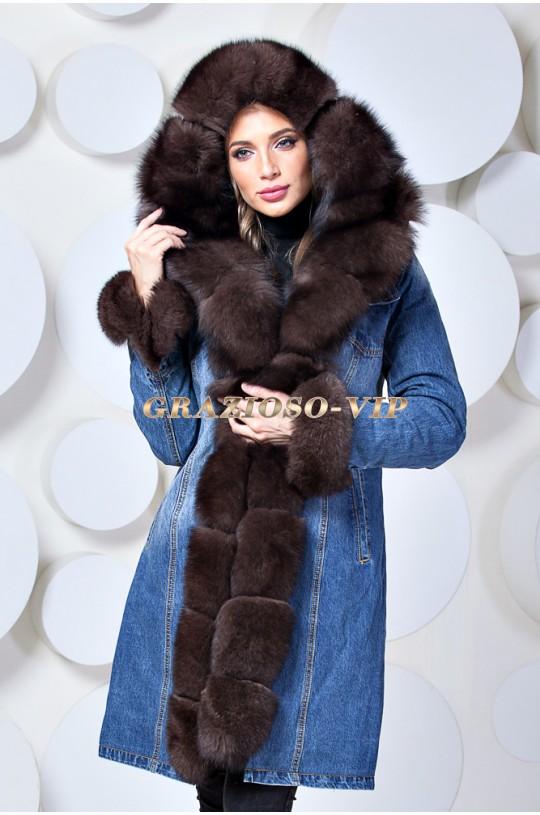 Модная джинсовая парка - пальто с мехом