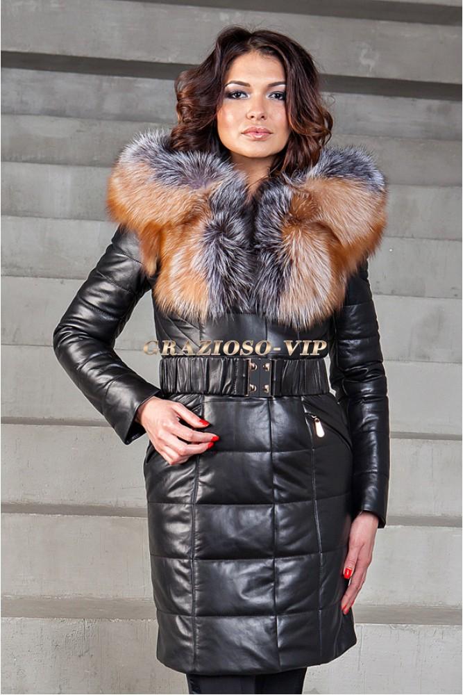 ecc92583333 Зимнее кожаное пальто с мехом чернобурки купить в интернет магазине ...