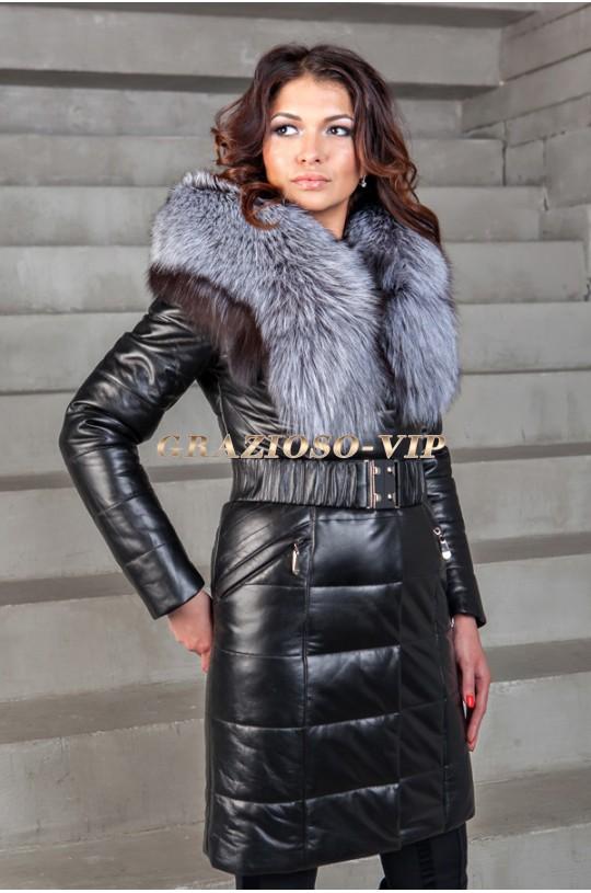 Кожаное пальто с мехом чернобурки