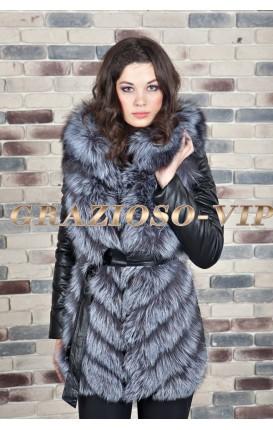 Куртка- жилетка с мехом чернобурки