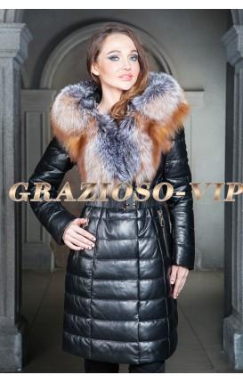 Кожаное пальто с мехом чернобурки 90см