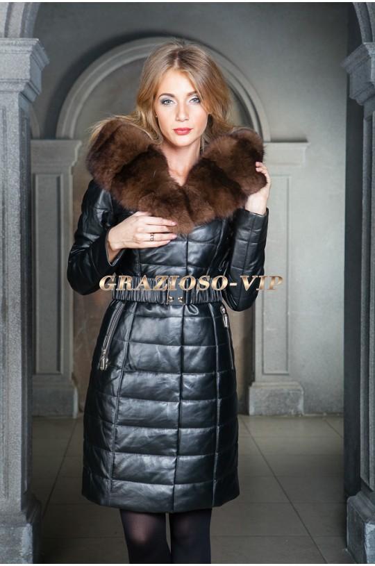 Кожаное пальто с мехом лисы