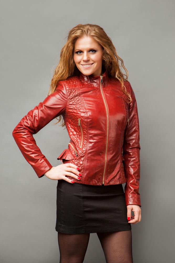 Кожаная Красная Куртка Женская